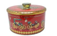 Beautiful Vintage Baret Ware Automobile Carriage Red Gold Tin England