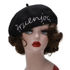 Black Womens Wool French Painter Basque Beret Hat Embroidered Winter Beanie A458