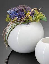 Handmade glass vase Globe round white sphere shape 18 cm D centrepieces