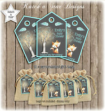 FOX WOODLAND BOY BABY SHOWER PARTY PERSONALISED THANK YOU TAGS X 12
