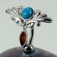Belly Navel Bar Silver Filigree Motif Blue Turquoise & Amber Cabochon 1.6 x 10mm