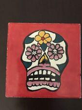 """Dia De Los Muertos - 4""""x4"""" - Ceramic Tiles - Style 203 - Made In Mexico"""