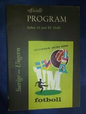 1958 World Cup Finals Programme Sweden v Hungary, 12th June (Orginal)