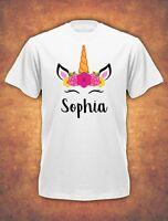 Personalised Any Name Unicorn Girls Girl  Gift baby Childrens  T-shirt kids