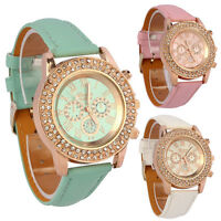 Vogue Women Ladies Crystal Dial Quartz Analog Leather Bracelet Wrist Watch Styli