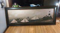 David Carter Brown Folk Art Picture,Ships,Lighthouses,39 1/2x15 1/2,rare,vg!
