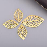 100x Metal Leaf Frame Resin Casting Bezel Pendants Hollow Jewelry Making DIY