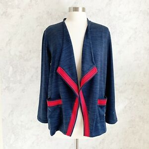 T By Talbots Cardigan Large Petite Navy Blue Red Trim Soft Drape Jersey Active