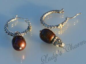 Barbara Bixby Brown Freshwater Pearl Hoop Earrings Sterling Silver 18K Gold