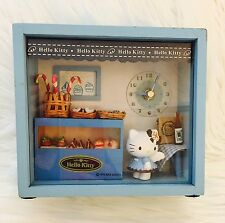 Sanrio Hello Kitty Shadow Box Bakery Blue Angel Clock Rare Collectors Trinket
