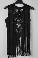 TS Accessories Fringed Vest  Faux Suede Boho Gypsy Hippie Western  Tunic Size M