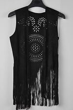 TS Accessories Faux Suede Boho Gypsy Hippie Western Fringed Vest Tunic Size M