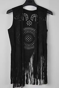 TS Accessories Vest  Faux Suede Boho Gypsy Hippie Western Fringed Tunic Size M