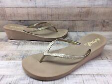 Reef Taupe/Gold Glitter Metallic Wedge Heel Flip Flops Sandals Women's sz 10