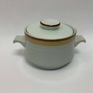International Stone Ware Sugar Bowl Danish Gold Green S-395 Japan