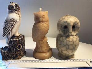 Owl Sculpture Candles Job Lot Of x3 (1x Beewax)