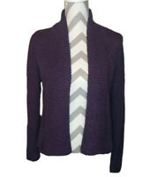 Chicos Cardigan Sweater Purple Knit Womens Size 1 Open Front Long Sleeve Ribbed