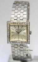 Baume & Mercier Vintage 25mm 14k White Gold & Diamond Manual Wind Dress Watch