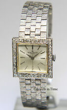 Baume & Mercier Vintage 25mm 14k White Gold & Diamond Manual Wind Dress Watch