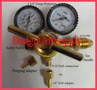 """Large Nitrogen Regulator 0-800PSI + 2 3/4""""Cover + HVAC 1/4""""& 9/16"""" male Connect"""