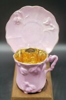 Victorian Porcelain Demitasse cup & saucer pink luster with gold