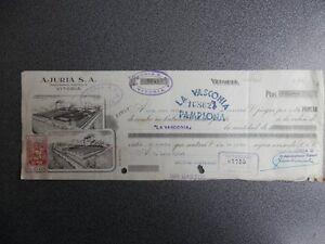 LETRA CAMBIO IMPRESIÓN PRIVADA AJURIA VITORIA  RARA AÑO 1935 FISCAL ÁLAVA