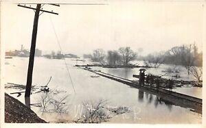 H70/ Massillon Ohio RPPC Postcard c1913 Flood Disaster Railroad Track 146
