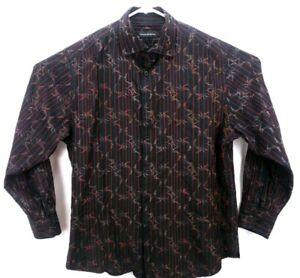Jhane Barnes Men's Shirt XL Long Sleeve Button Up Black/Red/Gold Striped Floral