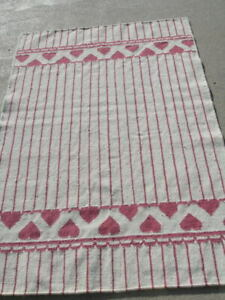 Fantastic Hand Woven Rug Carpet Area Heather's Hearts Stripes 3x5 Wool LN Rose