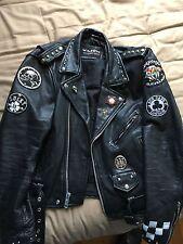 Men's Leather Motorcycle Jacket Cafe Racer Punk Rock Metal Goth Biker