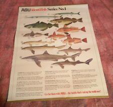 Vintage Abu Garcia Fishing Fish Breeds Poster Identifish Series 1 Collectible
