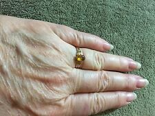 10K Victorian  Gold Ring W/Amber Gemstone, Sz 6
