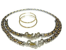Hugs and Kisses I Love You set in Gold/Silver Stainless steel stampato 2 tone