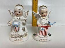 Vintage Napco JULY Patriotic Birthday Boy Girl Angels Blue Bird Flag