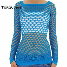A Sexy Long Sleeve Fishnet Shirt Women Tops Blouse GoGo Dance Wear Pick Color