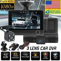 "1080P 4"" Dual Lens HD Car DVR Rearview Video Dash Cam Recorder G-sensor Camera /"