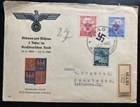 1942 Prague Bohemia Germany First Day Cover To Osnabruck 3rd Years Anniversary
