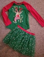 HOLIDAY TIME Red and Green Reindeer Tulle Skirt Set Girls Size 6 6X