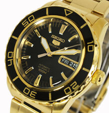 NeSeiko 5 Sports Automatic Gold Tone Black Face Submariner Divers Style SNZH60K1