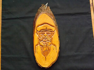 Vintage Hand Carved  Wood Wall Plaque - Carving of Old Gentleman