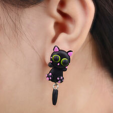 Polymer Clay Pair Black Cat Cute Stud Earrings Handcrafted Drop Dangle Jewelry