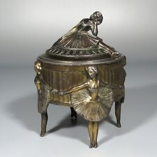 Antique French Footed Jewelry Casket Box, Dancing Girls Ballerinas Women Ballet