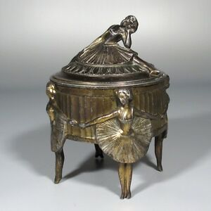 Antique French Footed Jewelry Casket Box, Dancing Girls Ballerinas Women Ballet
