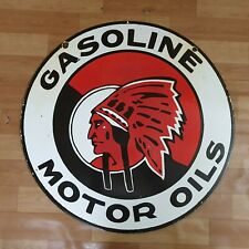 GASOLINE MOTOR OILS 2 SIDED PORCELAIN ENAMEL SIGN 30 INCHES ROUND