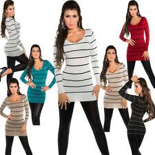Gestreifte Damen-Pullover & -Strickware mit V-Ausschnitt für alle Muster