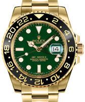 Rolex GMT-Master II 18k Yellow Gold & Ceramic Green Dial Watch & Box 116718 D