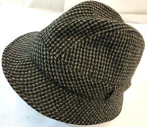Vintage Von Boven Scotland 100% Pure Wool Brown Knit Trilby Fedora Hat Cap M