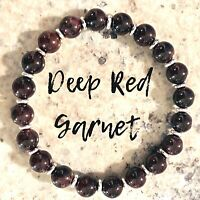 GARNET BRACELET 925 Sterling Silver AAA Grade Natural Stone January Birthstone