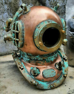 "Antique 18"" Diving Divers Helmet Vintage U.S Navy Mark V Scuba Diving Helmet"