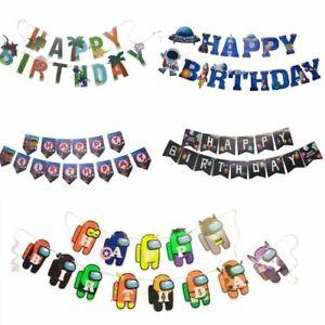 LOL Dinosaur Fort nite Among Us Toy Story Frozen Theme Happy Birthday Kid Banner